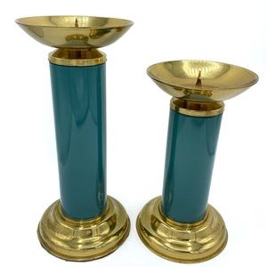 Ethan Allen home collection brass candle pillars